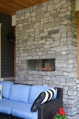 <p>Stone fireplace design and build in Oakville.  Valor fireplace and custom design.</p>