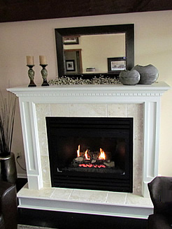 Montego gas frieplace Greensville, dundas cabinet mantel with tile surround with custom hearth